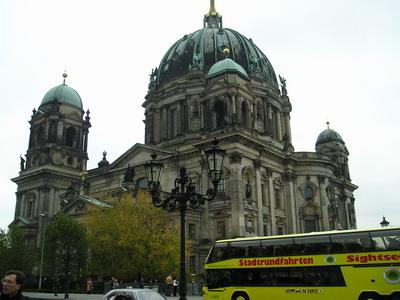 The Dome and a sightseeing bus in Berlin